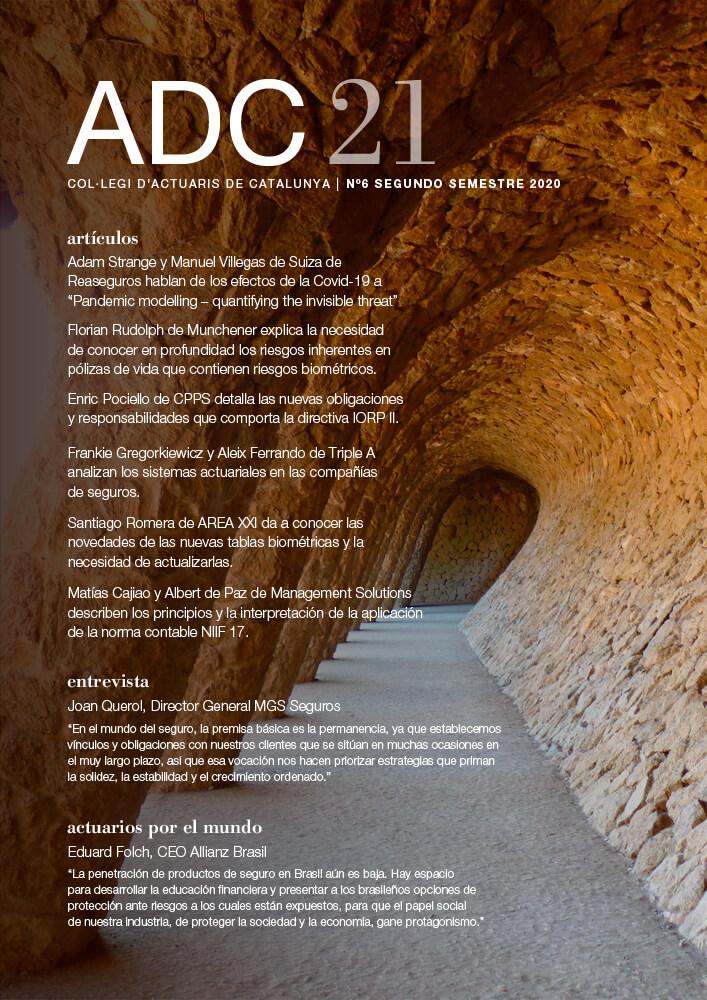 ADC21. Col·legi d'Actuaris de Catalunya, N6 Segundo Semestre 2020